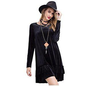 Easel Long Sleeved Velvet Ruffled Tunic/Mini Dress